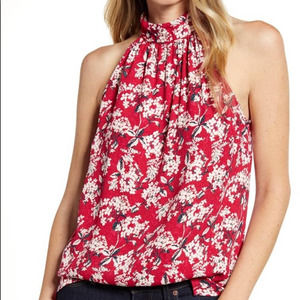 CHELSEA28 Nordstrom red floral print top | M | NWT